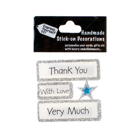Handmade,stick,on,Captions,-,Thank,You,stick-on captions, craft, handmade, glitter, Silver glitter,Star
