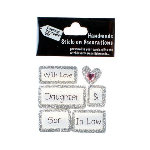 Handmade,stick,on,Captions,-,Daughter,&,Son,In,Law,stick-on captions, craft, handmade, glitter, Silver glitter,heart