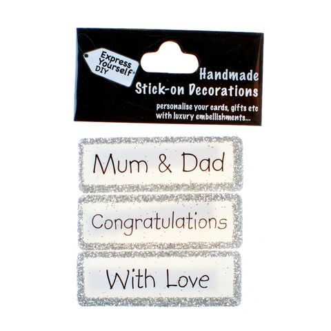 Handmade,stick,on,Captions,-,Mum,&,Dad,stick-on captions, craft, handmade, glitter, silver glitter