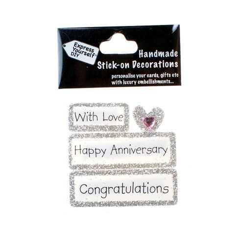 Handmade,stick,on,Captions,-,Happy,Anniversary,stick-on captions, craft, handmade, glitter, Silver glitter,heart