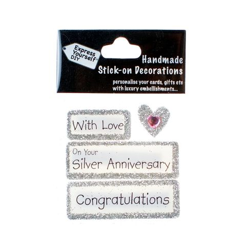 Handmade,stick,on,Captions,-,Silver,Anniversary,stick-on captions, craft, handmade, glitter, Silver glitter,heart