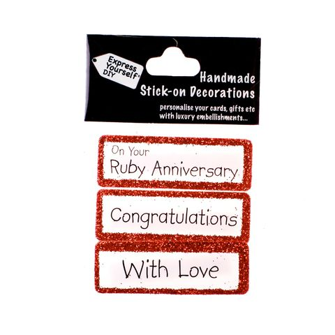 Handmade,stick,on,Captions,-,Ruby,Anniversary,stick-on captions, craft, handmade, glitter, Red glitter,heart