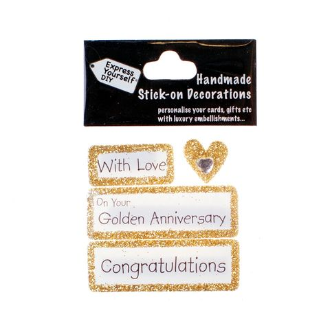 Handmade,stick,on,Captions,-,Golden,Anniversary,stick-on captions, craft, handmade, glitter, Gold glitter,heart