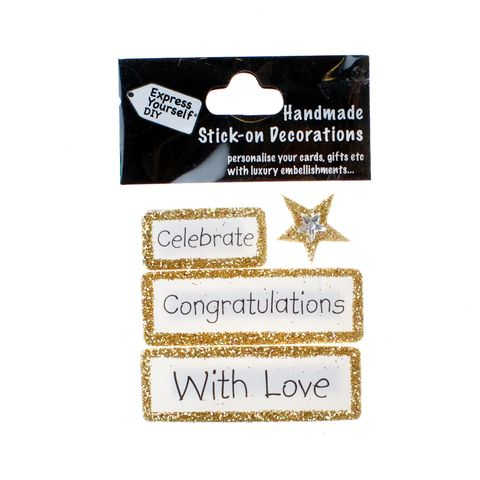 Handmade,stick,on,Captions,-,Congratulations,stick-on captions, craft, handmade, glitter, Gold glitter,star