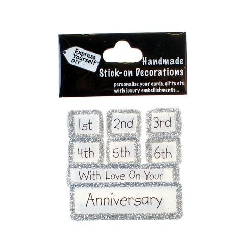 Handmade,stick,on,Captions,-,Multiple,Anniversary,(1st,to,6th),stick-on captions, craft, handmade, glitter, Silver glitter,star