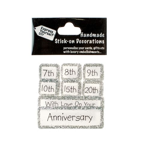 Handmade,stick,on,Captions,-,Multiple,Anniversary,stick-on captions, craft, handmade, glitter, Silver glitter,star
