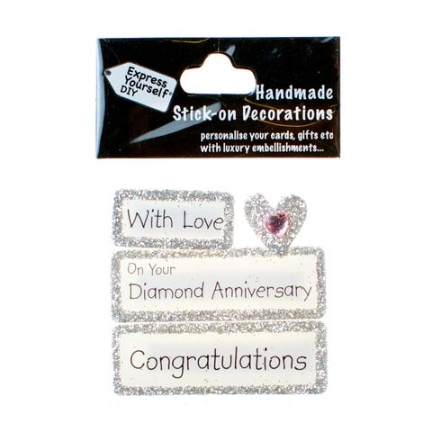 Handmade,stick,on,Captions,-,Diamond,Anniversary,stick-on captions, craft, handmade, glitter, Silver glitter,heart