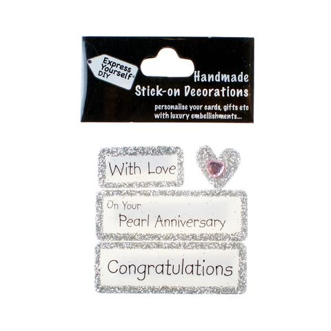 Handmade,stick,on,Captions,-,Pearl,Anniversary,stick-on captions, craft, handmade, glitter, Silver glitter,heart