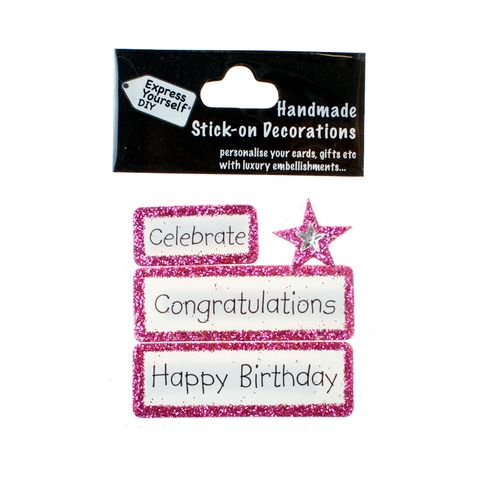 Handmade,stick,on,Captions,-,Congratulations,stick-on captions, craft, handmade, glitter, Pink glitter,star