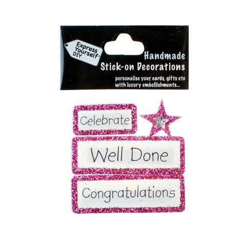 Handmade,stick,on,Captions,-,Well,Done,stick-on captions, craft, handmade, glitter, Pink glitter,star