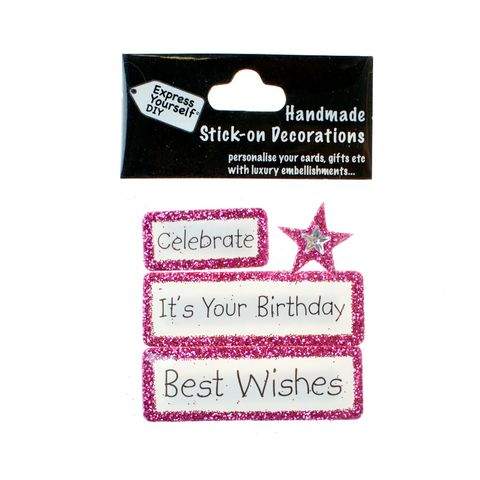 Handmade,stick,on,Captions,-,Birthday,(Celebrate),stick-on captions, craft, handmade, glitter, Pink glitter,star