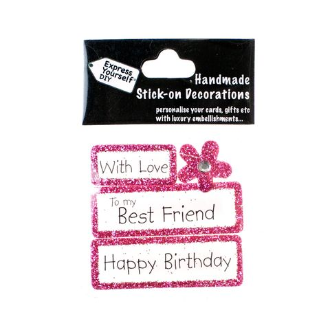 Handmade,stick,on,Captions,-,Best,Friend,stick-on captions, craft, handmade, glitter, Pink glitter,flower
