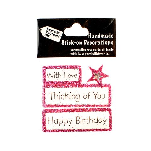 Handmade,stick,on,Captions,-,Thinking,Of,You,stick-on captions, craft, handmade, glitter, Pink glitter,star