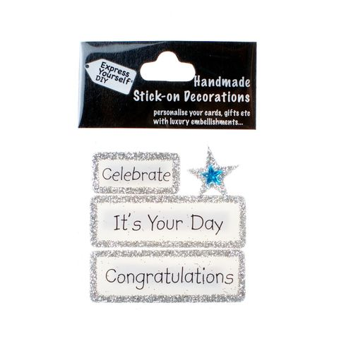 Handmade,stick,on,Captions,-,It's,Your,Day,stick-on captions, craft, handmade, glitter, Silver glitter,star