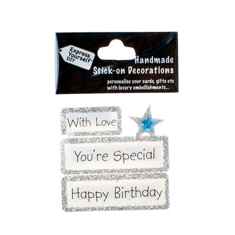 Handmade,stick,on,Captions,-,You're,Special,stick-on captions, craft, handmade, glitter, Silver glitter,star