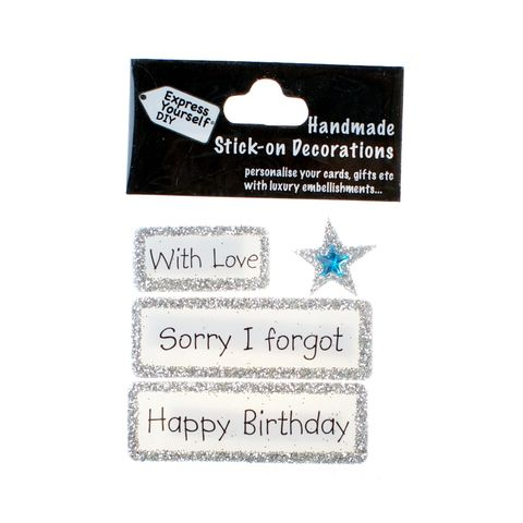 Handmade,stick,on,Captions,-,Sorry,I,Forgot,stick-on captions, craft, handmade, glitter, Silver glitter,star