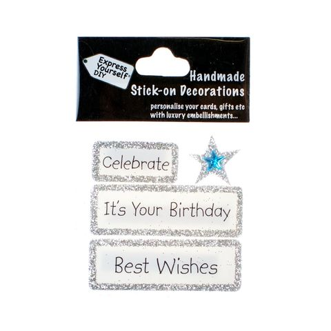 Handmade,stick,on,Captions,-,It's,Your,Birthday,stick-on captions, craft, handmade, glitter, Silver glitter,star