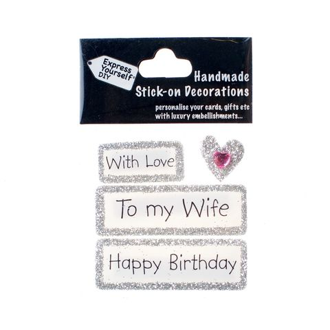 Handmade,stick,on,Captions,-,Wife,stick-on captions, craft, handmade, glitter, silver glitter,heart