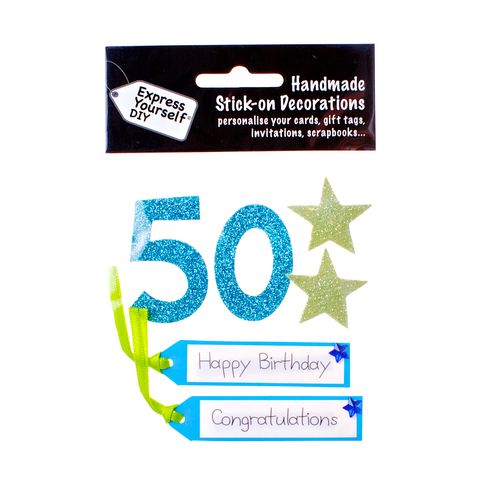 50th,Birthday,Craft, 50th, Birthday, Tags, Star, Blue