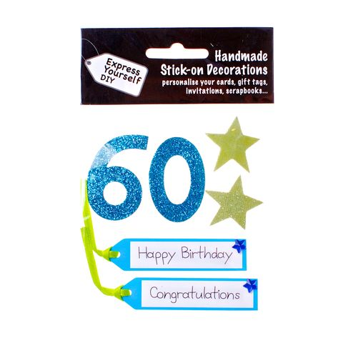 60th,Birthday,Craft, 60th, Birthday, Tags, Star, Blue