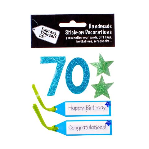 70th,Birthday,Craft, 70th, Birthday, Tags, Star, Blue