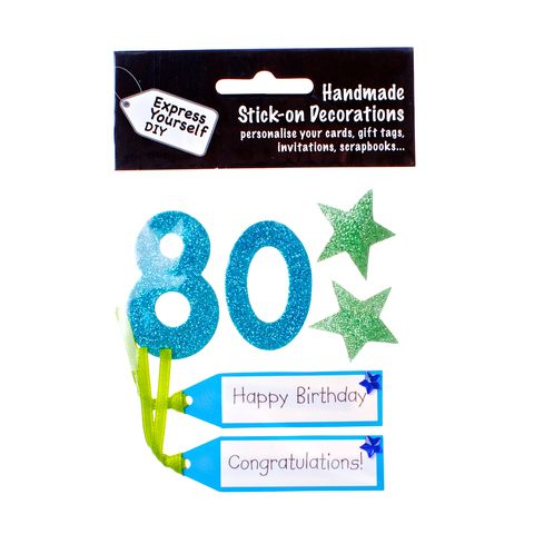 80th,Birthday,Craft, 80th, Birthday, Tags, Star, Blue