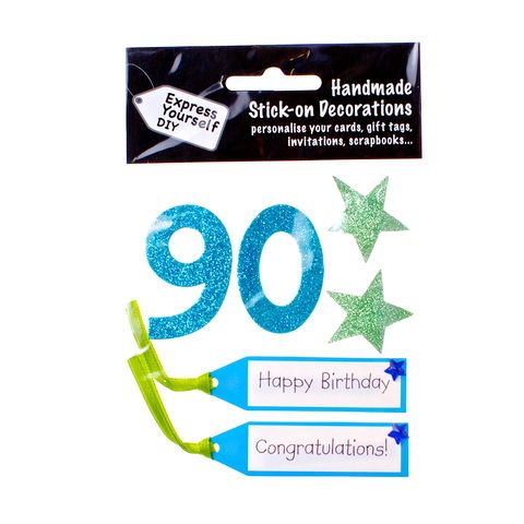 90th,Birthday,Craft, 90th, Birthday, Tags, Star, Blue