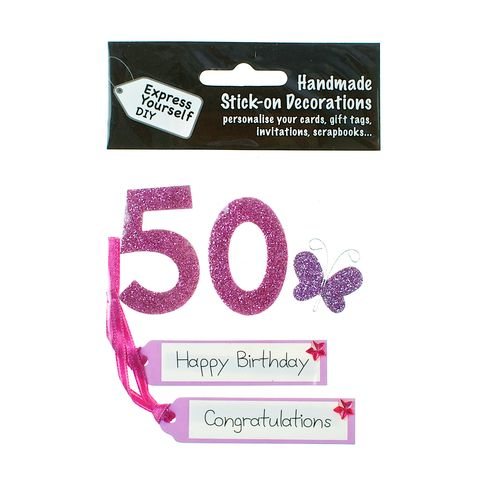 50th,Birthday,Craft, 50th, Birthday, Tags, Butterfly,Pink