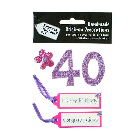 40th,Birthday,Craft, 40th, Birthday, Tags, Flower,Pink