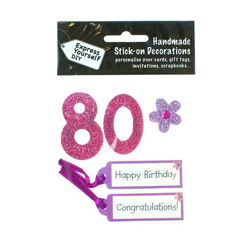 80th,Birthday,Craft, 80th, Birthday, Tags, Flower,Pink