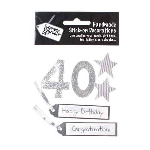 40th,Birthday,Craft, 40th, Birthday, Tags, Stars, Silver