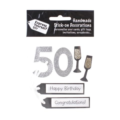 50th,Birthday,Craft, 50th, Birthday, Tags, Flutes, Silver