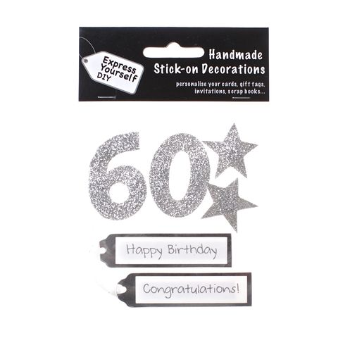 60th,Birthday,Craft, 60th, Birthday, Tags, Stars, Silver