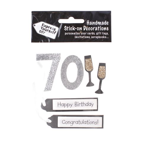 70th,Birthday,Craft, 70th, Birthday, Tags, Flutes, Silver
