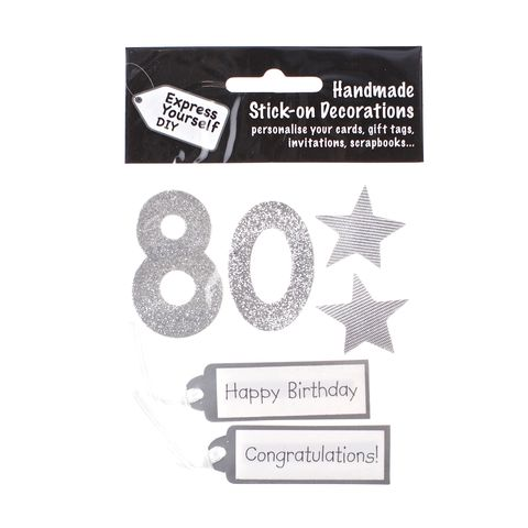 80th,Birthday,Craft, 80th, Birthday, Tags, Stars, Silver