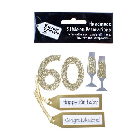60th,Birthday,Craft, 60th, Birthday, Tags, Flutes, Gold