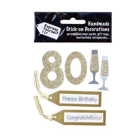 80th,Birthday,Craft, 80th, Birthday, Tags, Flutes, Gold