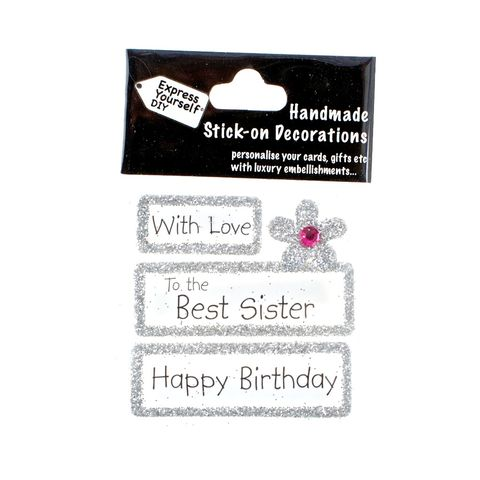 Handmade,stick,on,Captions,-,Best,Sister,stick-on captions, craft, handmade, glitter, silver glitter,flower