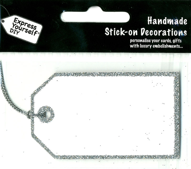 Handmade stick on tags - Mini Silver Glitter Tag - product images