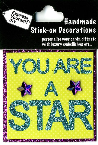 Handmade,(Mini),Stick,On,Parts,-,You,Are,A,Star,(Words),Stick-on captions, craft, Stick-on captions, You Are A Star, Words,  Mini Toppers