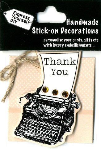 Handmade,(Mini),Stick,On,Parts,-,Typewriter,With,Thank,You,Sign,Stick-on captions, craft, Stick-on captions, typewriter, Tnank You,  Mini Toppers