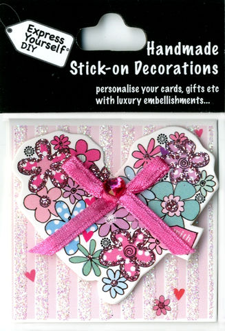 Handmade,(Mini),Stick,On,Parts,-,Floral,Heart,Stick-on captions, craft, Floral Heart, Mini Toppers