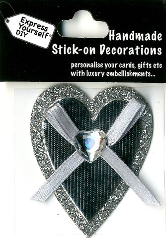 Handmade,(Mini),Stick,On,Parts,-,Silver,Heart,Stick-on captions, craft, Silver, Heart, Mini Toppers