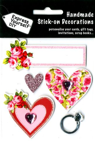 Diamond,Ring,&,Hearts,Craft, Diamond Ring, Hearts, Flowers, Tag, Topper