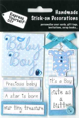 Baby,Captions,(Boy),Craft, Baby Captions, Boy, Birth, Blue, Topper
