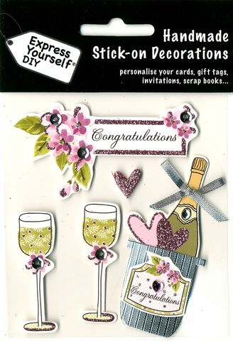 Champagne,&,Flutes,Craft, Champagne, Flutes, Tag, Flowers Topper