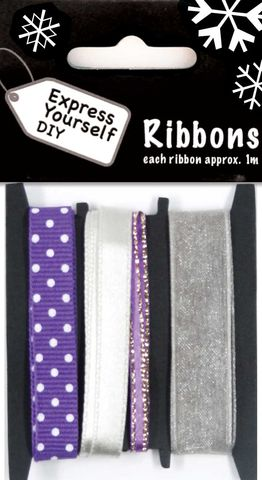 Purple,&,White,Ribbons,Craft, Christmas, Purple, White, Ribbon