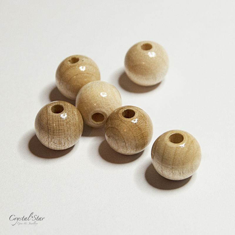 Polished Wooden Beads - 12mm diameter - product images