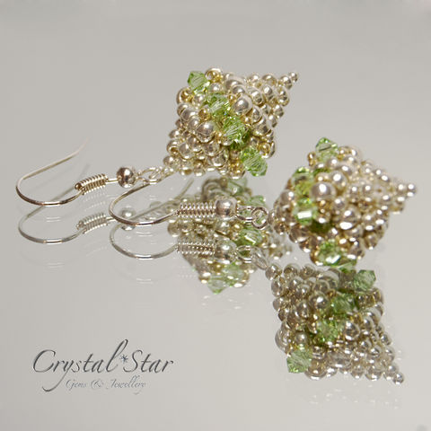 Peridot,Polyhedron,Earrings,earrings, swarovski crystal, polyhedron, silver, peridot, handmade