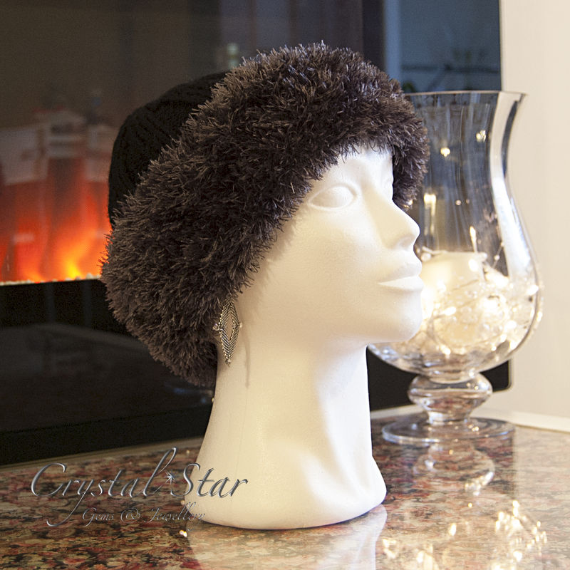 Hand Knitted Cossack Hat - Charcoal and Black - product image